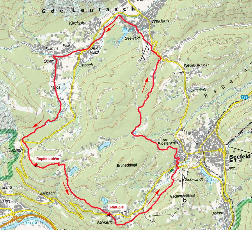Seefelder Plateau-Rundfahrt von Mösern mit Ropferstubm