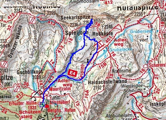 Seekarlspitze (2261 m) von der Erfurter Hütte