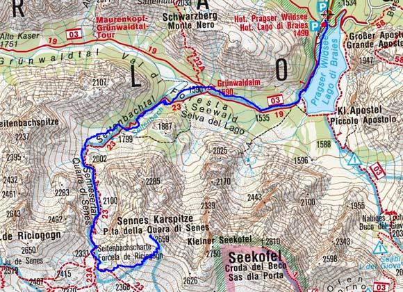 Senneser Karspitze (2659 m) vom Pragser Wildsee