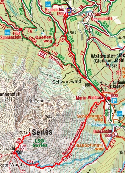 Serles (2717 m) von Hochserles