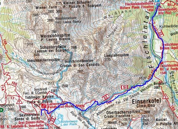 Sextner Stein (2539 m) von der Fischleinbodenhütte