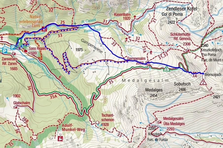 Bronsoijoch (2344 m) von der Zanser Alm