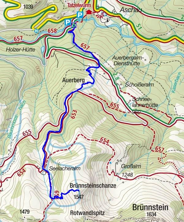 Brünnsteinschanze (1547 m) vom Tatzelwurm