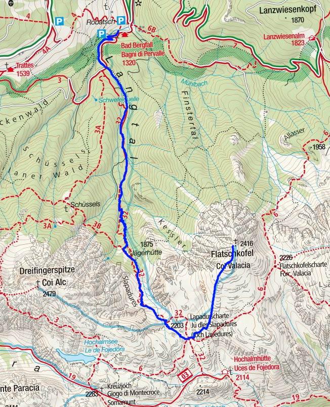 Flatschkofel (2416 m) vom Gasthof Bad Bergfall