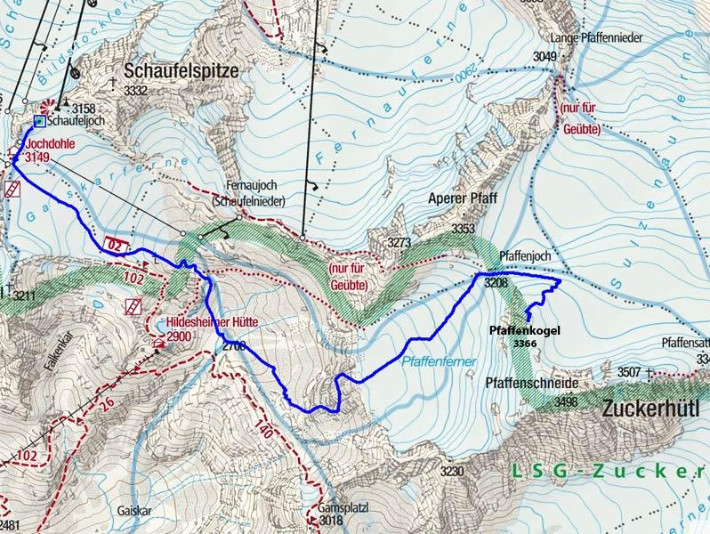 Pfaffenkogel (3366 m) vom Schaufeljoch