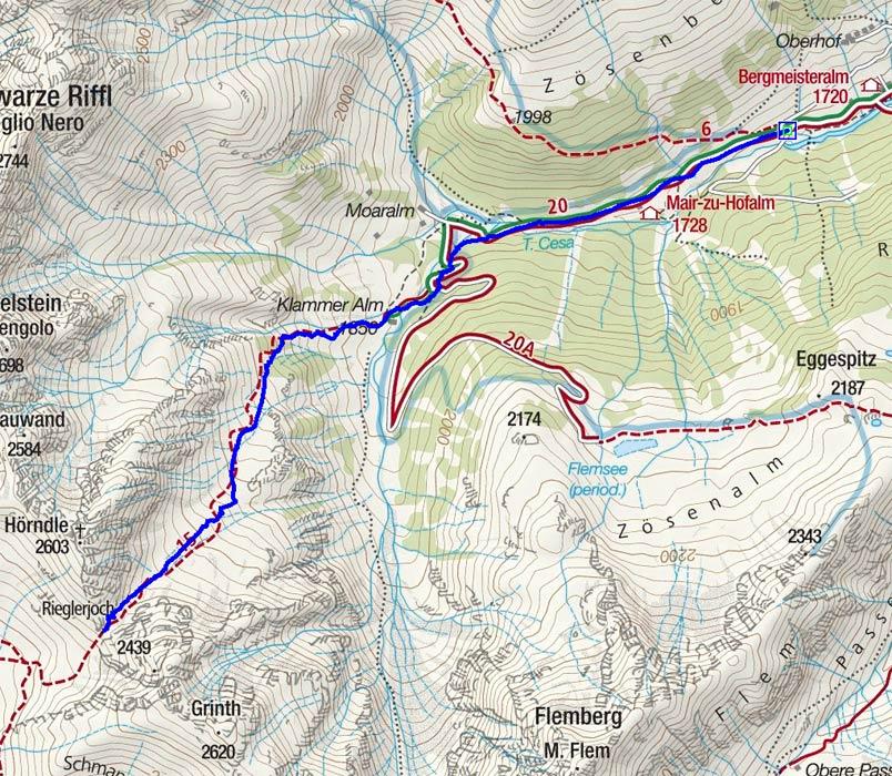 Rieglerjoch (2439 m) von Zösenberg