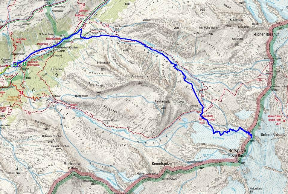 Untere Rötspitze - Rötschulter (3289 m) von Kasern