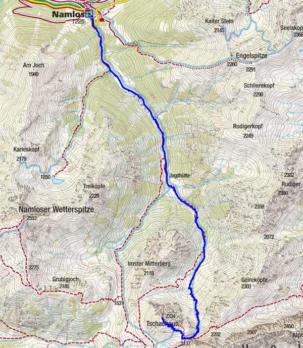 Tschachaun (2334 m) von Namlos