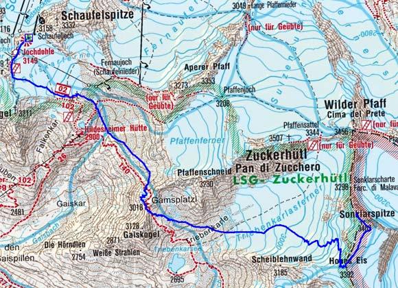 Sonklarspitze (3467 m) vom Schaufeljoch