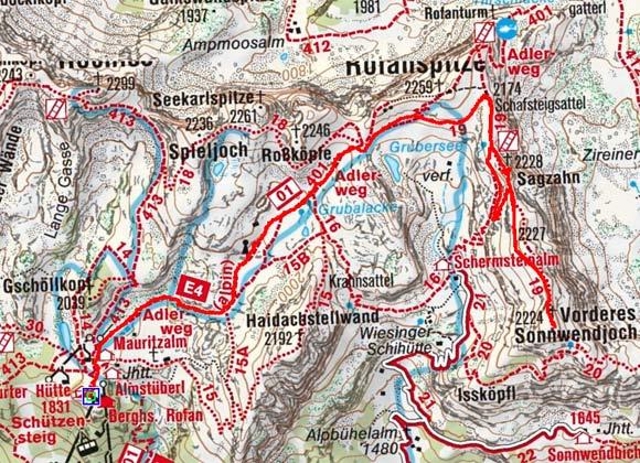 Sagzahn-Vorderes Sonnwendjoch (2228/2224 m) von der Erfurter Hütte