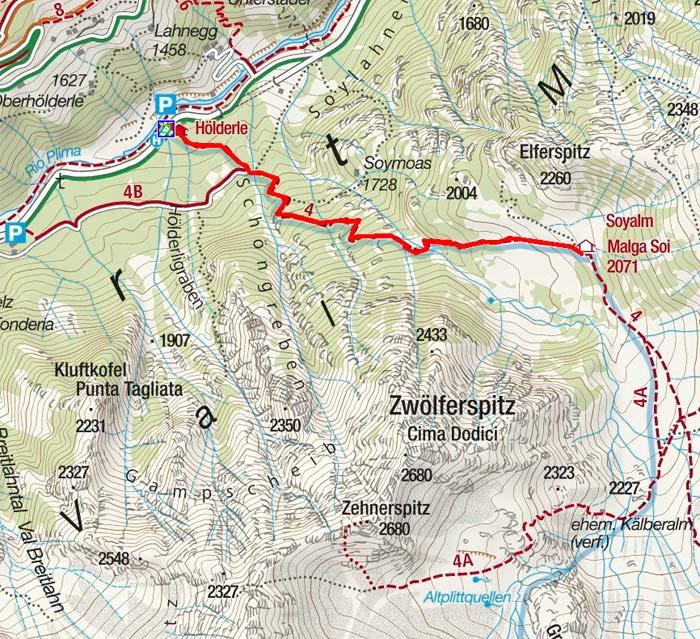 Soyalm (2072 m) vom Gasthof Hölderle