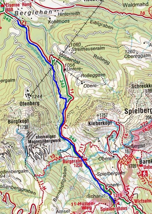 Burgeralm und Spielberghaus vom Gasthof Eiserne Hand