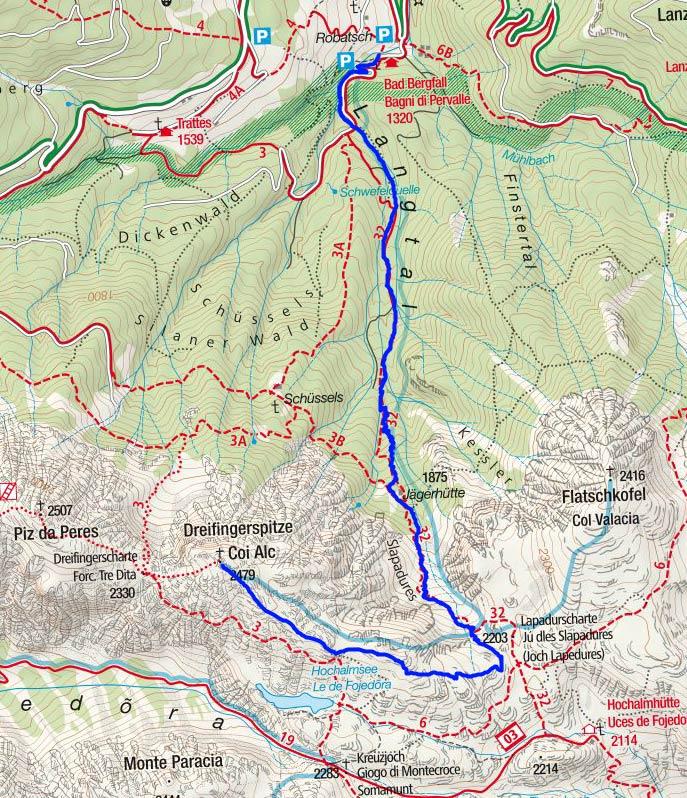 Dreifingerspitze (2479 m) vom Gasthof Bad Bergfall