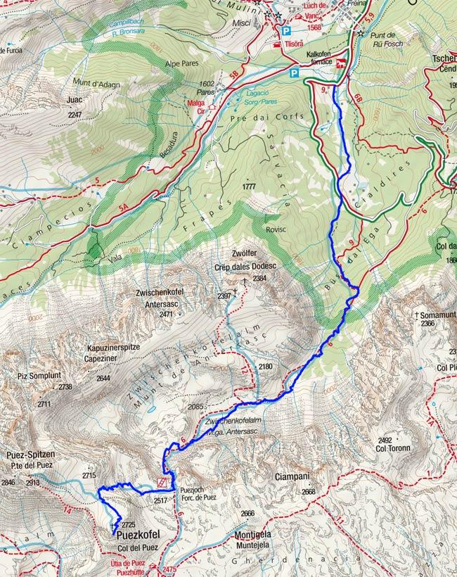 Puezkofel (2725 m) von Campill