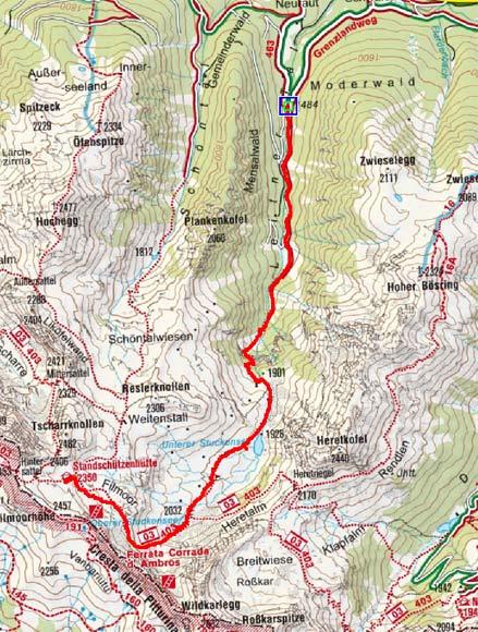 Filmoor Standschützenhütte (2350 m) durch das Leitertal