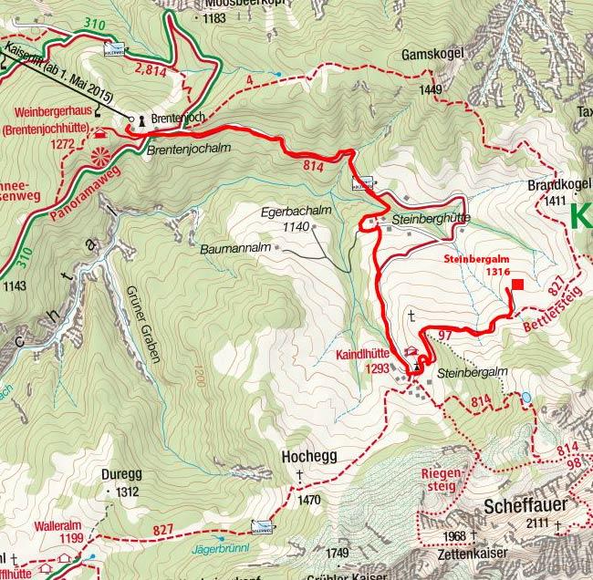 Steinbergalm (1316 m) vom Brentenjoch