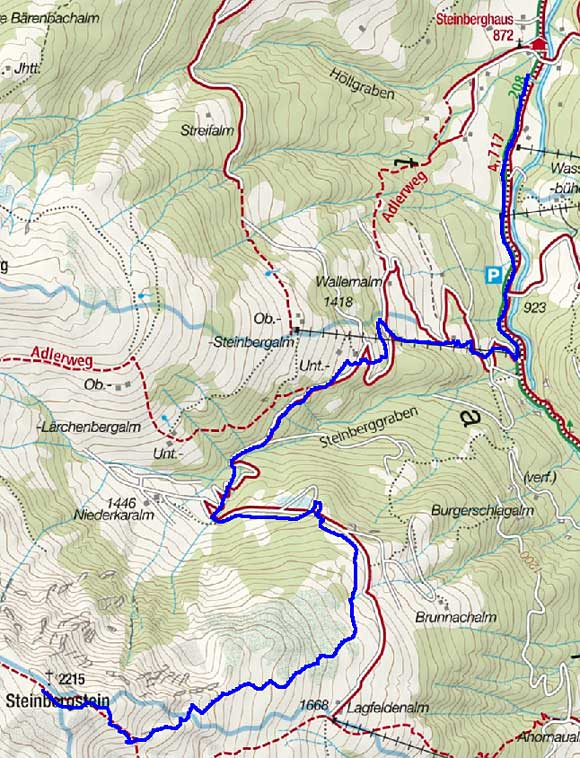Steinbergstein (2215 m) vom Gasthaus Steinberg