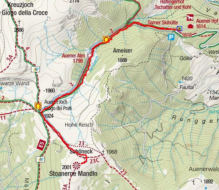 Stoanerne Mandln (2001 m) von der Sarner Skihütte