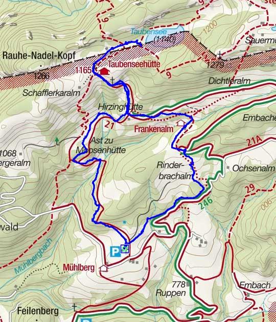 Taubensee (1140m) vom Mühlberg in Kössen