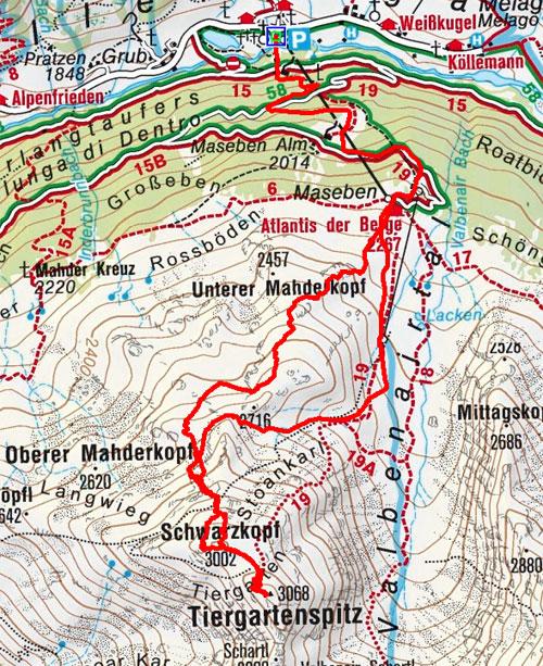 Tiergartenspitze (3068 m) von Melag