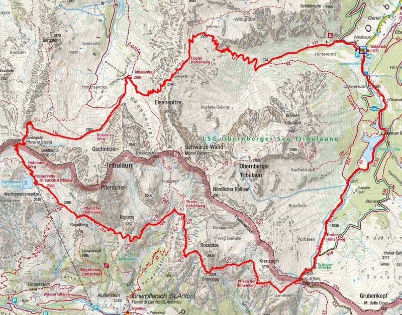 Tribulaune - Rundtour von Obernberg (2 Tagesetappen)