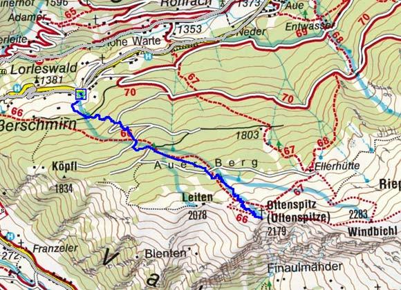 Ottenspitze-Ultenspitze (2179 m) aus dem Schmirntal