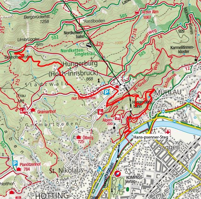 Umbrüggler Alm von Innsbruck (Hans-Psenner-Steg)