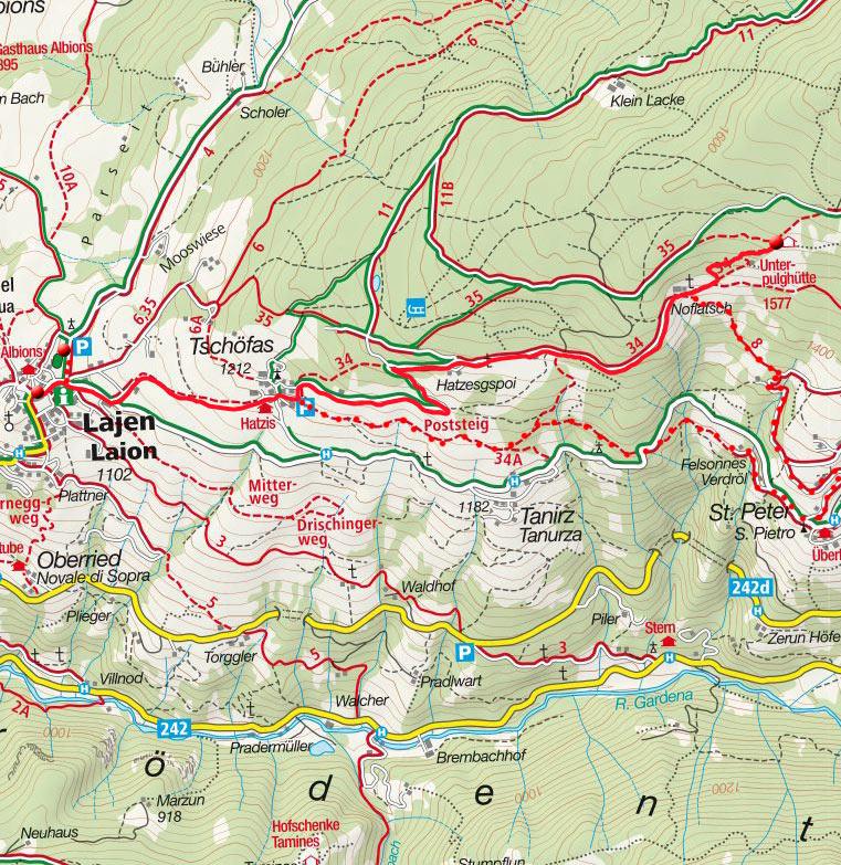 Unterpulghütte (1560m) von Lajen über Tschöfas