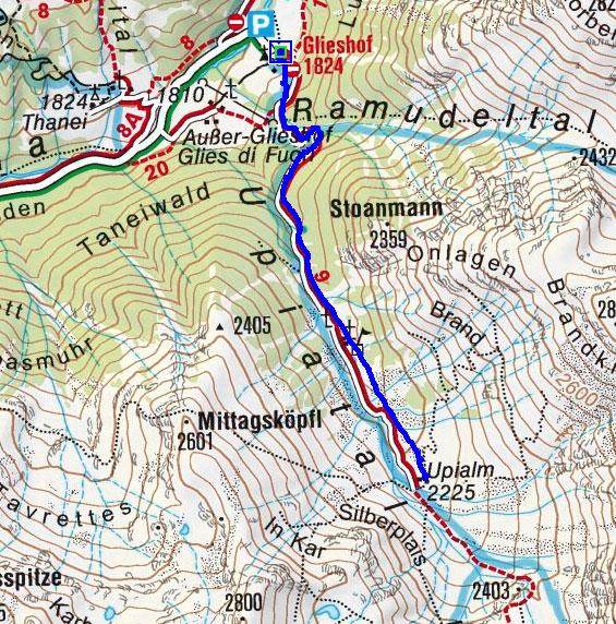 Upi Alm (2225 m) vom Glieshof