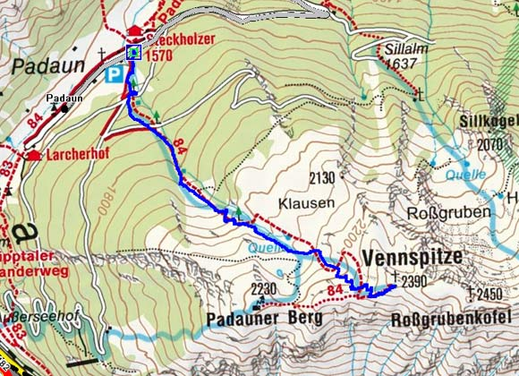 Vennspitze (2390 m) von Padaun