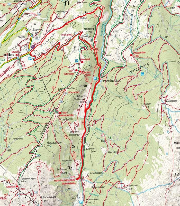 Voldertal-Runde zur Voldertalhütte und Stiftalm-Niederleger