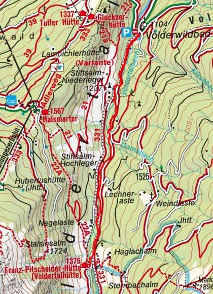 Voldertalhütte (1376 m) vom Volderwildbad