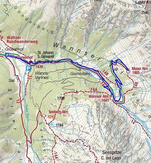 Durch das Wannser Tal zur Wannser Alm und Moser Alm