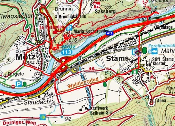Stams - Mötz - Locherboden (Weg der Sinne)
