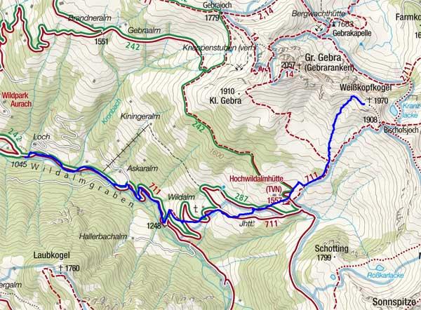 Weisskopfkogel (1970 m) vom Wildpark Aurach