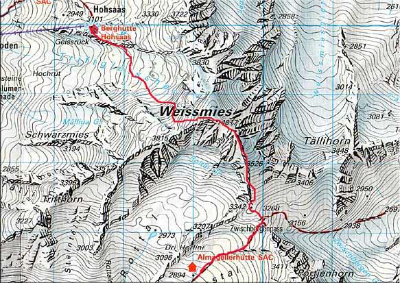 Weissmies (4023 m) von der Almageller Hütte