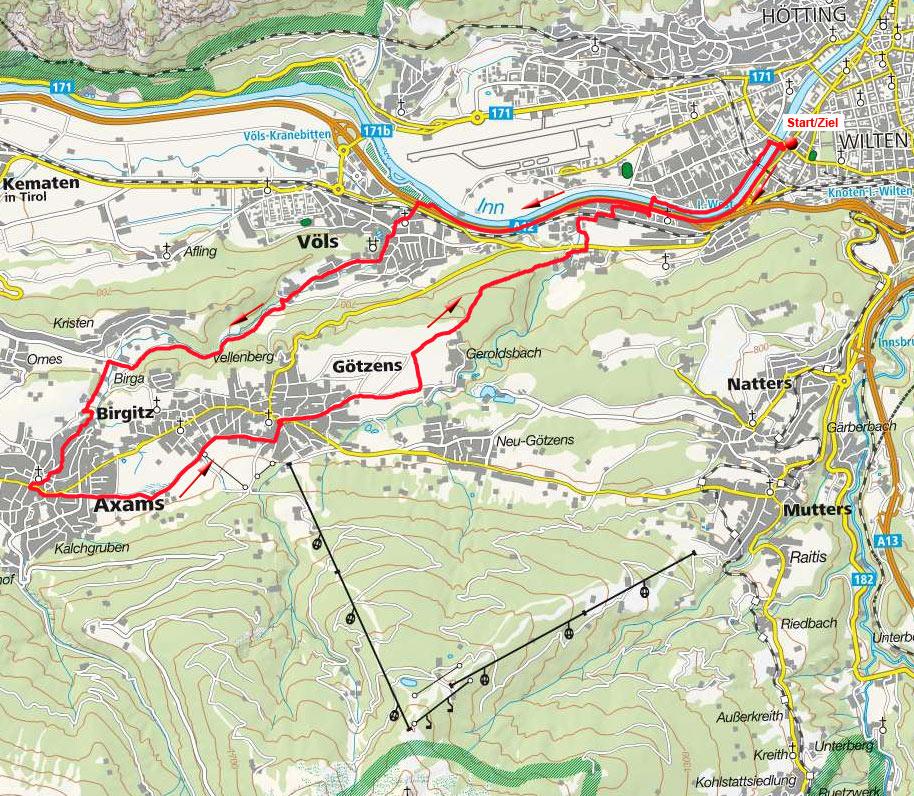 Westliche Mittelgebirgsrunde von Innsbruck-Freiburgerbrücke