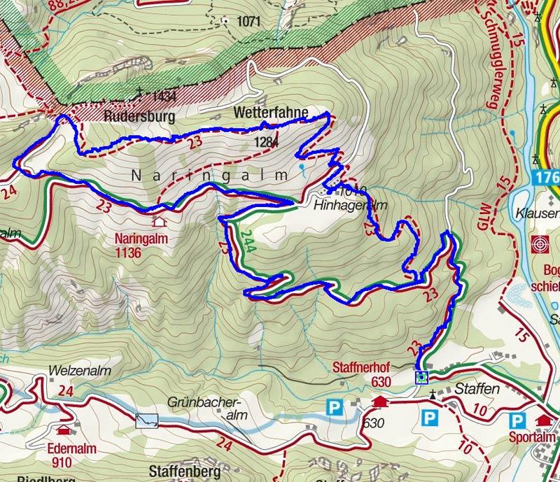 Wetterfahne (1284 m) von Kössen im Kaiserwinkl