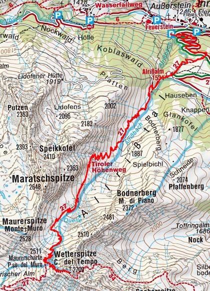 Wetterspitze (2709 m) vom Parkplatz Allrissalm