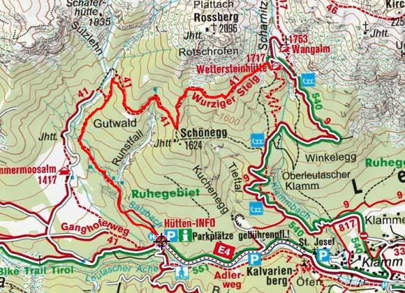 Wettersteinhütte (1717 m) vom Parkplatz Salzbach