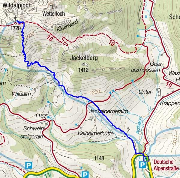 Wildalpjoch (1720 m) vom Parkplatz Arzmoos