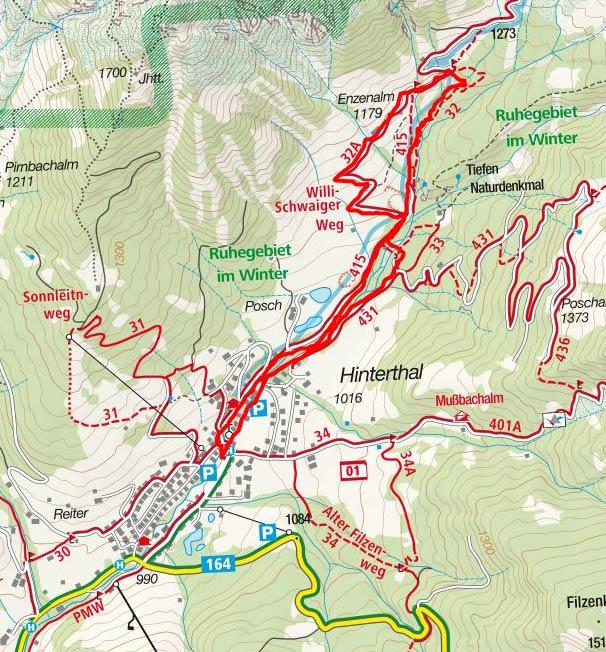 Willi-Schwaiger-Weg Wanderung von Hinterthal