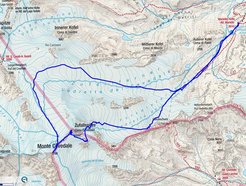 Zufallspitze – Monte Cevedale Rundtour von der Marteller Hütte
