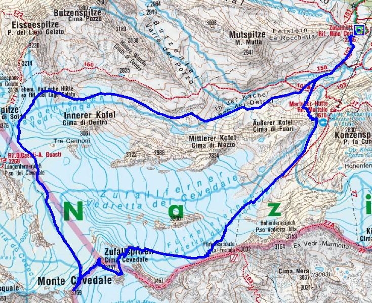 Zufallspitze-Cevedale (3757/3769 m) von der Zufallhütte