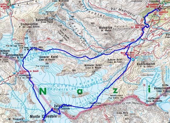 Zufallspitze-Cevedale (3757/3769 m) aus dem Martelltal