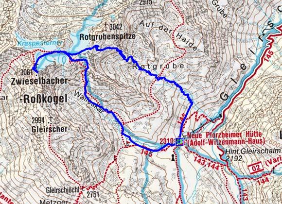 Zwieselbacher Roßkogel (3081 m) durch die Rotgrube
