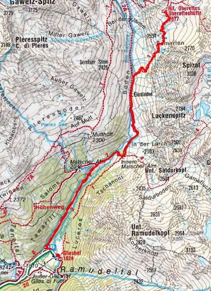 Oberetteshütte (2677 m) vom Glieshof