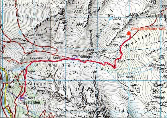 Almagellerhütte (2884 m) von Sass Almagell