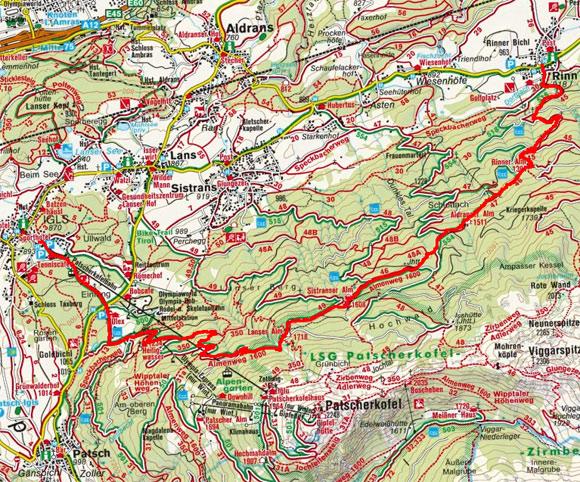 4-Almen Wanderung im Südlichen Mittelgebirge von Rinn nach Igls