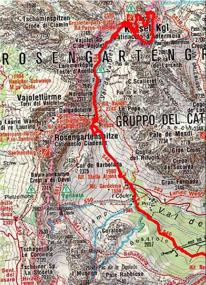 Kesselkogel (3002 m) von Vigo die Fassa